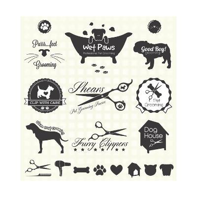 Vector Set: Pet Grooming Labels-vreddane-Art Print