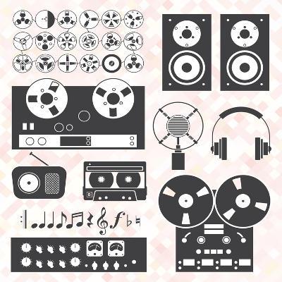Vector Set: Retro Music Recording Equipment Objects-vreddane-Art Print