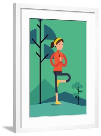 Vector Sport Young Woman Character Meditating Outdoors in Trendy Flat Design   Peaceful Female Pers-Mascha Tace-Framed Art Print