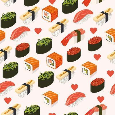 Vector Sushi Menu Template with Philadelphia Roll, California Roll, Sake Nigiri, Tamago Nigiri Isol-Svetlana Maslova-Art Print