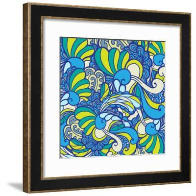 Vector Texture with Abstract Plants.-Marylia-Framed Premium Giclee Print