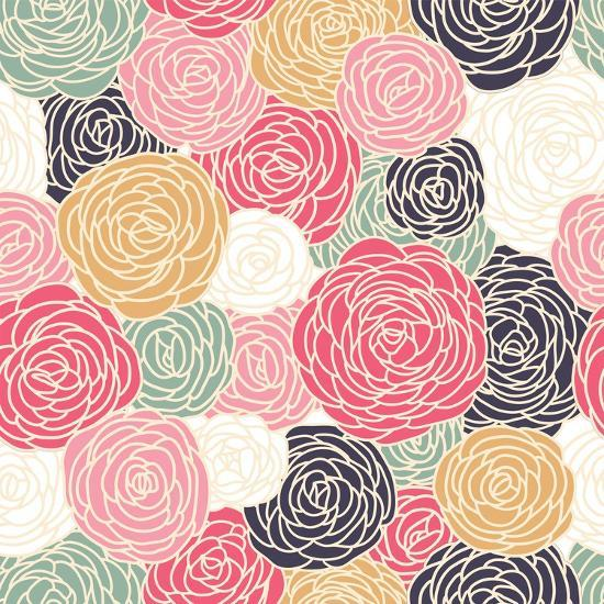 Vector Vintage Inspired Seamless Floral Pattern with Colorful Roses-Fleur Paper Co-Art Print