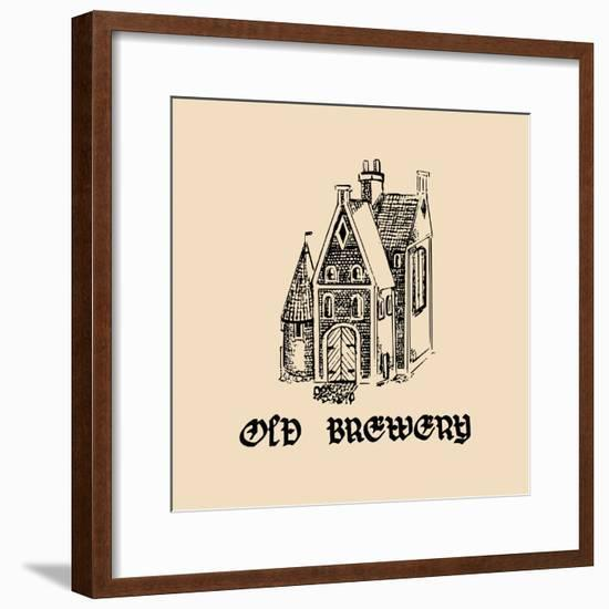 Vector Vintage Old Brewery Logo. Hand Drawn Beer Symbol. Illustration with Lettering Gothic Font Fo-Vlada Young-Framed Premium Giclee Print