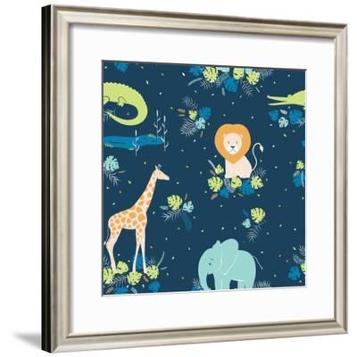 Vector Wildlife Seamless Pattern with Tropical Animals, Elephant, Crocodile, Lion, Giraffe-Inna Moreva-Framed Premium Giclee Print