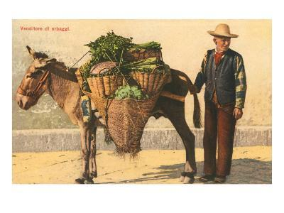 Vegetable Seller with Donkey, Italy--Art Print
