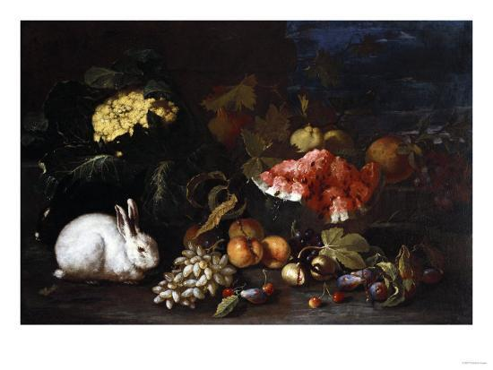 Vegetables and Fruit with Rabbits in a Landscape-George Wesley Bellows-Giclee Print