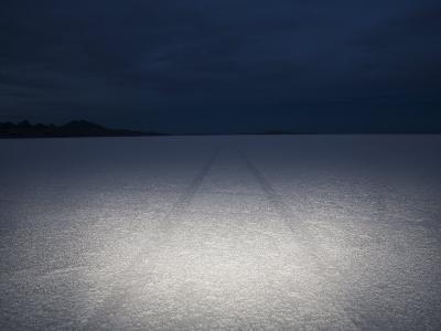 Vehicle Tracks Through the Bonneville Salt Flats, Utah at Night-John Burcham-Photographic Print