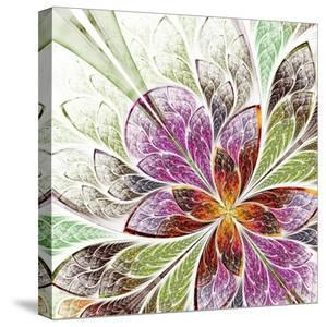 Beautiful Fractal Flower in Beige, Green and Violet by velirina