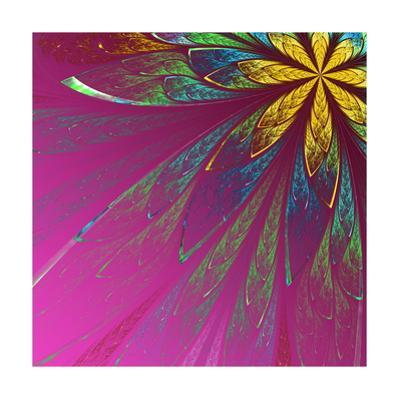 Beautiful Fractal Flower in Green and Yellow on Violet Background by velirina