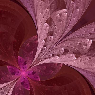 Beautiful Fractal Flower in Vinous and Purple