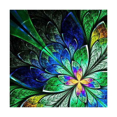 Beautiful Fractal Flower in Yellow, Green and Blue
