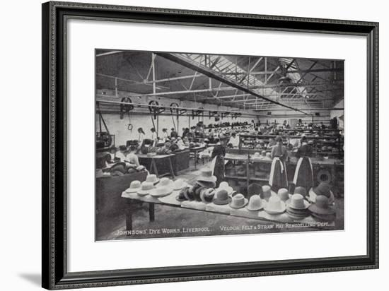 Velour, Felt and Straw Hat Remodelling Department, Johnson's Dye Works, Liverpool--Framed Photographic Print
