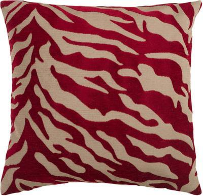 Velvet Zebra Down Fill Pillow - Burgundy *
