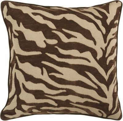 Velvet Zebra Down Fill Pillow - Chocolate
