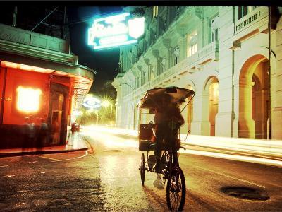 Vendor on Bicycle in Old Havana, Cuba in Front of Hemingway's Haunt the Floridita Restaurant/Bar Ni-rj lerich-Photographic Print