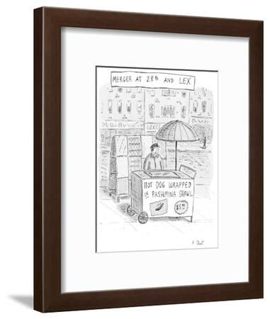 Vendor selling hot dog wrapped in pashmina shawl. - New Yorker Cartoon-Roz Chast-Framed Premium Giclee Print