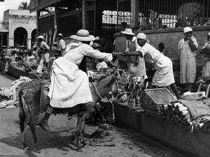 Vendors and Customers Outside the Iron Market in Port-Au-Prince, C.1959