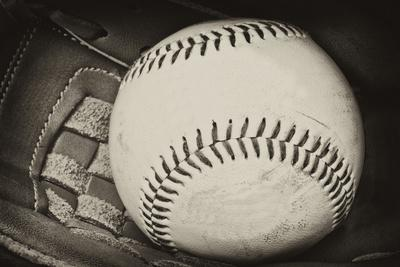Antique Plate Style Photograph of Baseball and Glove Vintage Retro