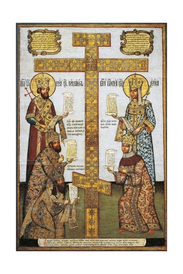 Veneration of Cross With--Giclee Print