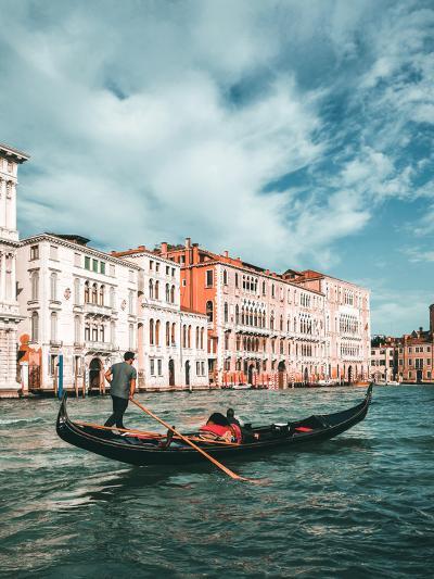 Venetian Gondolier Punts Gondola in Venice, Italy-World Image-Photographic Print