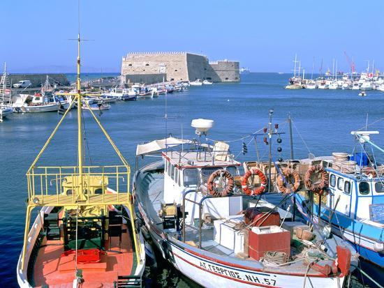 Venetian Harbour and Koules Fortress, Heraklion, Crete, Greece-Peter Thompson-Photographic Print