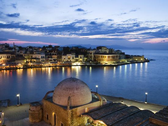 Venetian Harbour and Mosque of the Janissaries at Dusk, Chania (Hania), Chania Region, Crete, Greek-Stuart Black-Photographic Print