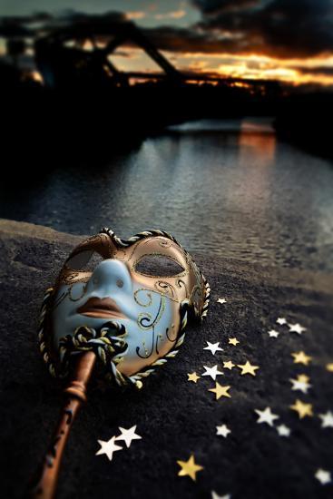 Venetian Mask By The River Bridge With Sunset-passigatti-Art Print