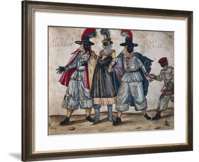 Venetian Masked Characters During Carnival, 1614 from the Codex Bottacin, Italy, 17th Century--Framed Giclee Print
