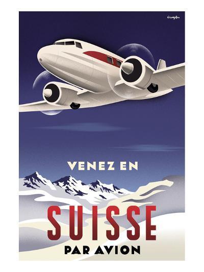 Venez en Suisse par Avion-Michael Crampton-Art Print