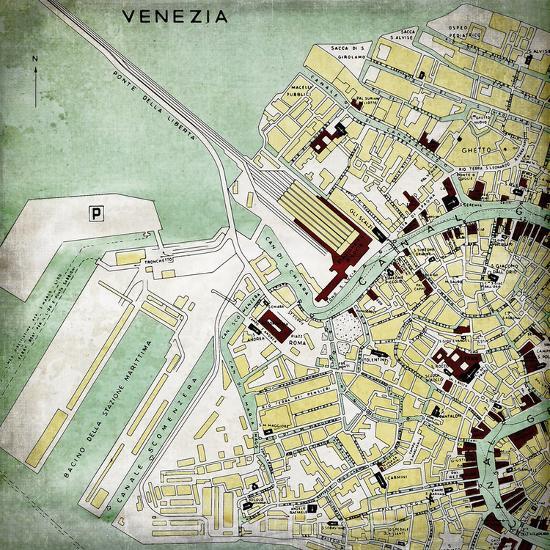 Venezia Map - Square-Lebens Art-Giclee Print