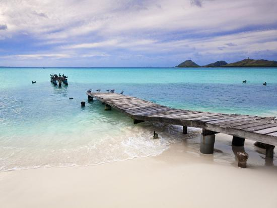 Venezuela, Archipelago Los Roques National Park, Pier on Madrisque Island-Jane Sweeney-Premium Photographic Print