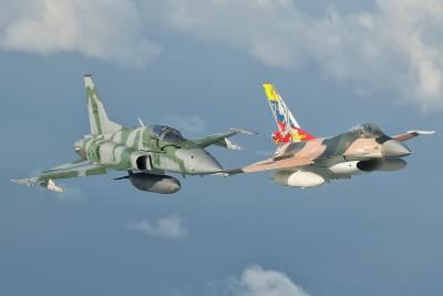 Venezuelan Air Force F-16 and Brazilian Air Force F-5 in Flight over Brazil-Stocktrek Images-Photographic Print