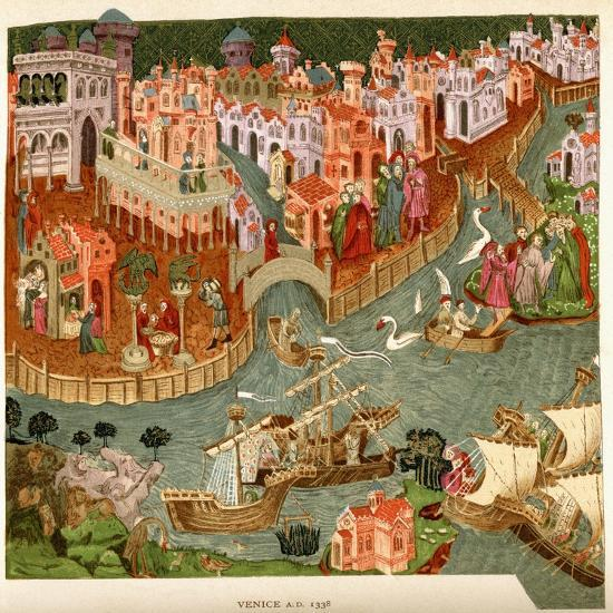 Venice, 1338, after a Manuscript in the Bodleian Library, from 'A Short History of the English…--Giclee Print