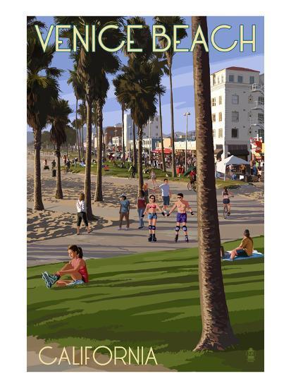 Venice Beach, California - Boardwalk Scene-Lantern Press-Art Print