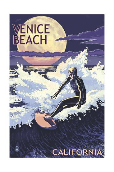 Venice Beach, California - Night Surfer-Lantern Press-Art Print