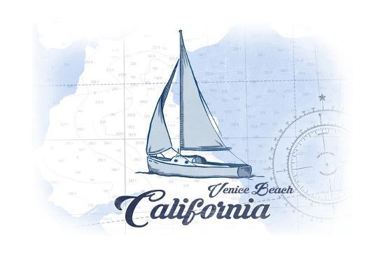 Venice Beach, California - Sailboat - Blue - Coastal Icon-Lantern Press-Art Print