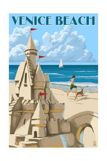 Venice Beach, California - Sandcastle-Lantern Press-Art Print