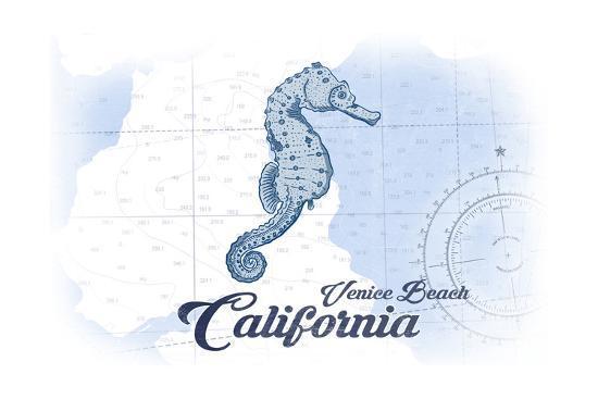 Venice Beach, California - Seahorse - Blue - Coastal Icon-Lantern Press-Art Print