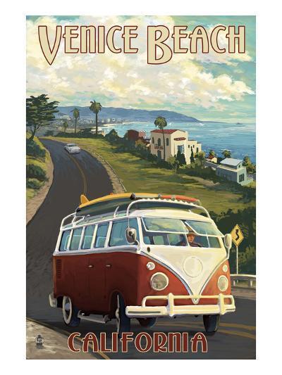 Venice Beach, California - VW Van Cruise-Lantern Press-Art Print