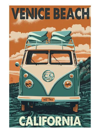 Venice Beach, California - VW Van-Lantern Press-Art Print