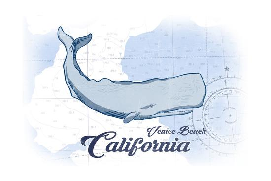 Venice Beach, California - Whale - Blue - Coastal Icon-Lantern Press-Art Print