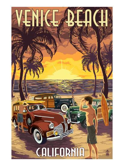 Venice Beach, California - Woodies and Sunset-Lantern Press-Art Print