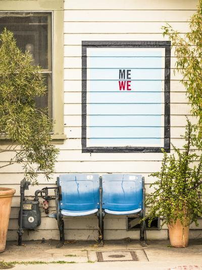 Venice, California, USA: Two Seats In Front Of A House With A Hand Painted Sign Reading 'Me We'-Axel Brunst-Photographic Print