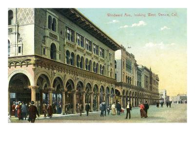 Venice, California - Western View Down Windward Avenue-Lantern Press-Art Print