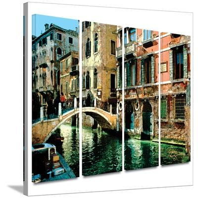 Venice Canal 4 piece gallery-wrapped canvas-George Zucconi-Gallery Wrapped Canvas Set
