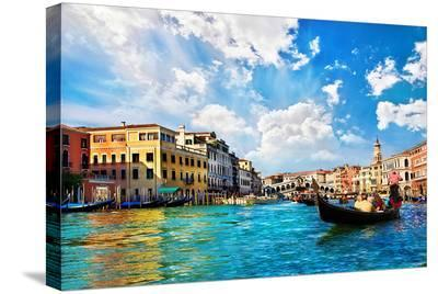 Venice Canal Rialto Bridge--Stretched Canvas Print