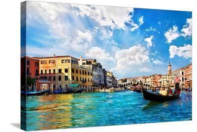 Venice Canal Rialto Bridge--Stretched Canvas Print