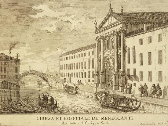 Venice,Church and Hospital for Beggars by Luca Carlevarijs, 1703--Giclee Print