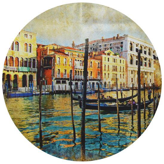 Venice - Circular Silver Canvas Giclee Printed on 2 - Wood Stretcher Wall Art--Alternative Wall Decor