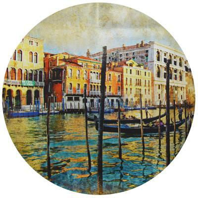 Venice - Circular Silver Canvas Giclee Printed on 2 - Wood Stretcher Wall Art